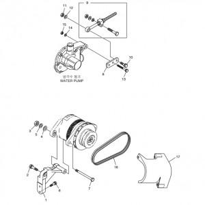Крепление зарядного генератора газового двигателя  Doosan GE08TI
