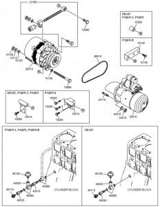 Стартер и генератор дизельного двигателя Doosan P126TI