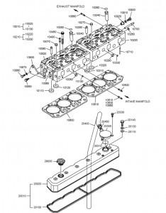 Крышка и головка цилиндров дизельного двигателя Doosan P126TI