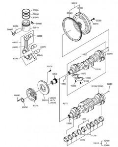 Коленвал дизельного двигателя Doosan P126TI
