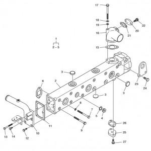 Выпускной коллектор ч.1 газового двигателя Doosan GE08TI