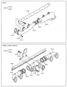 Выпускной коллектор дизельного двигателя Doosan P126TI