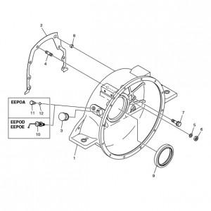 Кожух маховика газового двигателя Doosan GE08TI