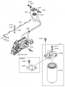 Топливные трубки и топливный фильтр дизельного двигателя Doosan P126TI