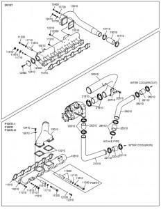 Впускной коллектор дизельного двигателя Doosan P126TI