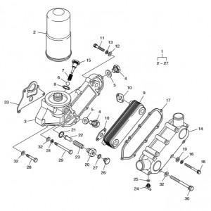 Масляный радиатор ч.1 газового двигателя Doosan GE08TI