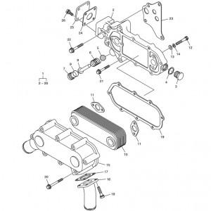 Масляный радиатор ч.2 газового двигателя Doosan GE08TI