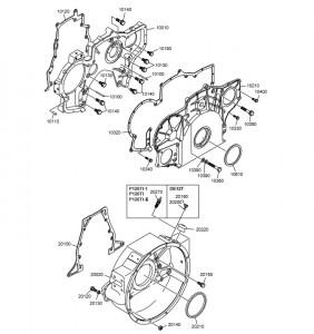 ГРМ и маховик дизельного двигателя Doosan P126TI
