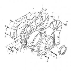 Корпус распределительного механизма газового двигателя Doosan GE08TI