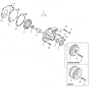 Насос системы охлаждения ч.1 газового двигателя Doosan GE08TI