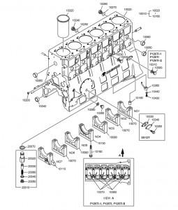 Блок цилиндров дизельного двигателя Doosan P126TI
