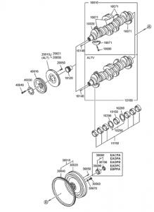 Коленвал дизельного двигателя Doosan P086TI