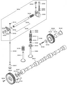 Распределительный вал дизельного двигателя Doosan P086TI