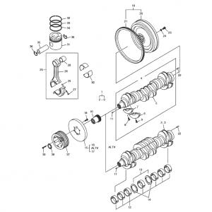 Коленчатый вал и система привода газового двигателя GE12TI