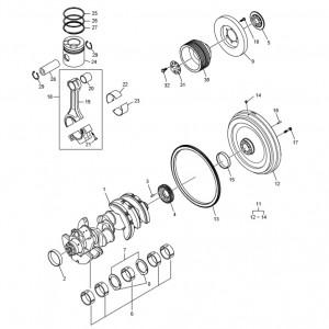 Коленчатый вал, поршневая система газового двигателя GV158TI