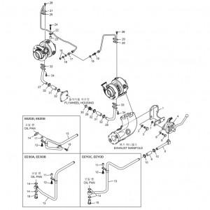 Трубопроводы системы смазки газового двигателя GV158TI