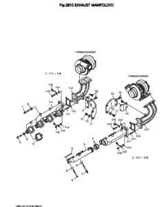 Выпускной коллектор в сборе дизельного двигателя Doosan DP158LD и DP158LC